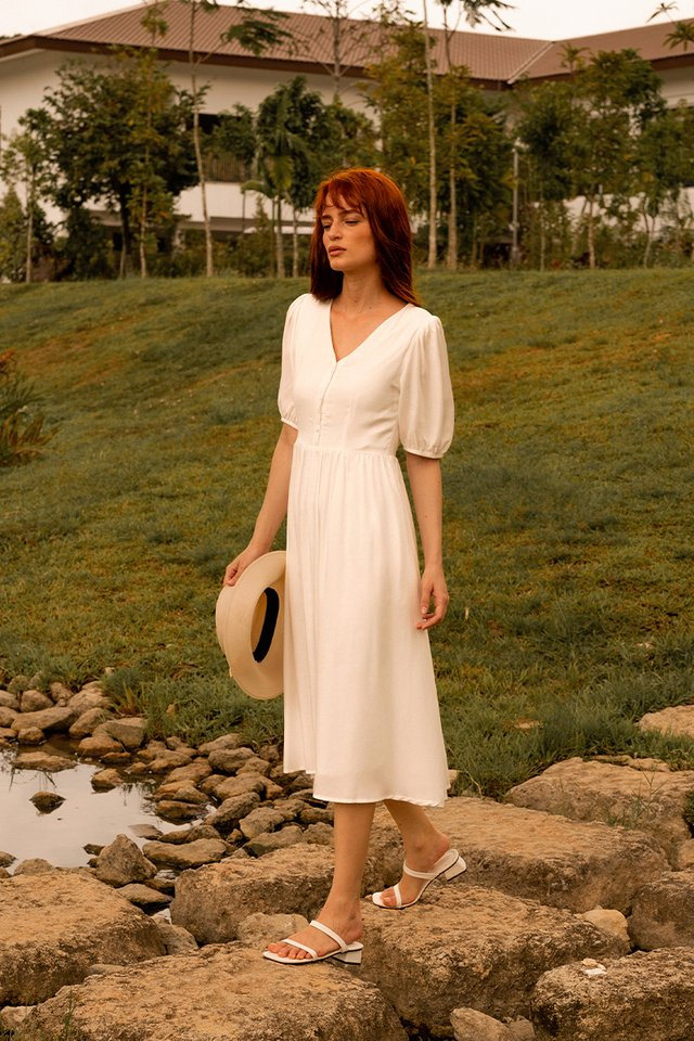 WHITNEY V NECK DRESS WHITE