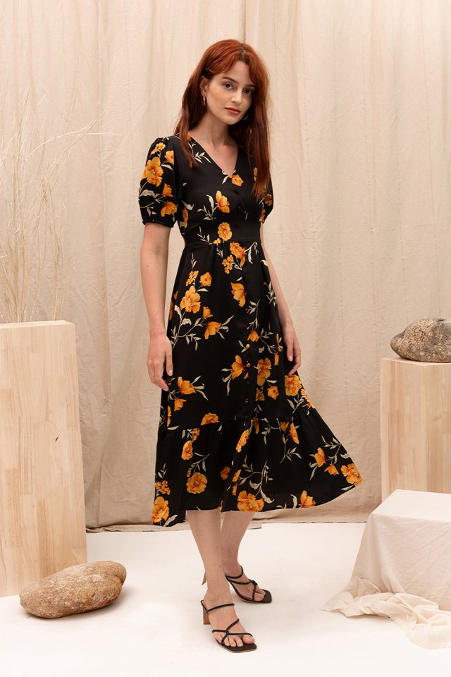 BREN FLORAL DRESS BLACK