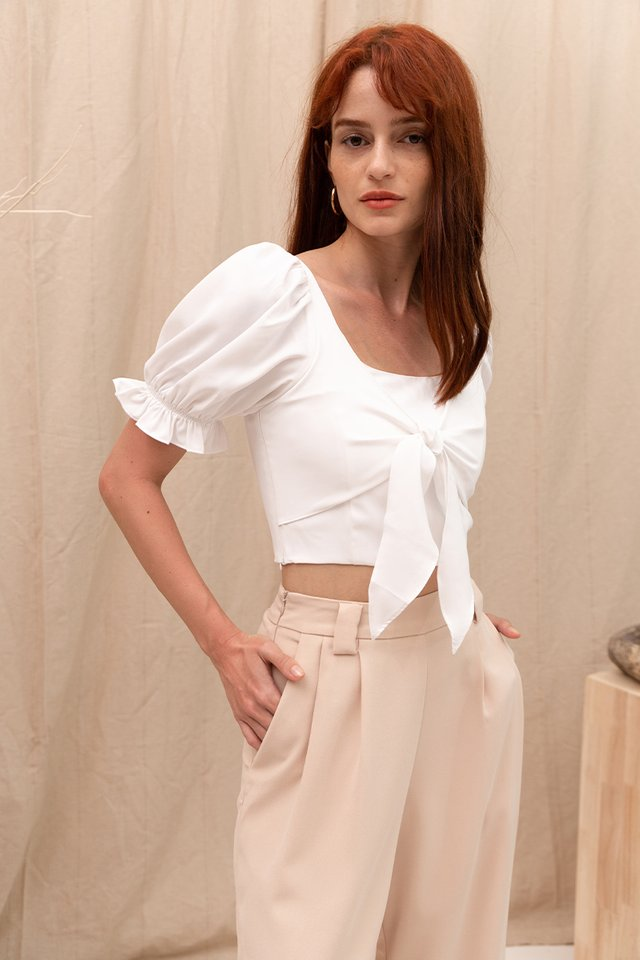 CHARLOTTE TIE FRONT TOP WHITE