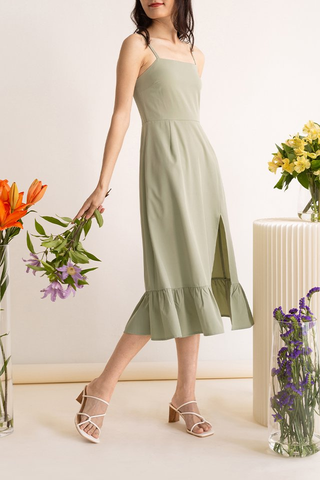KATE SIDE SLIT DRESS SAGE