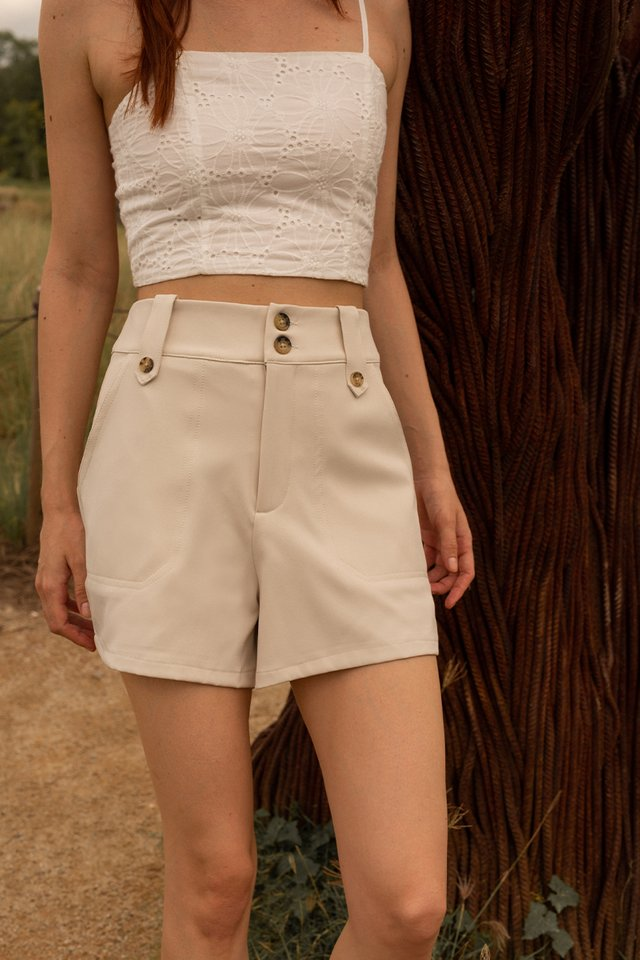 LEO BUTTON SHORTS NUDE