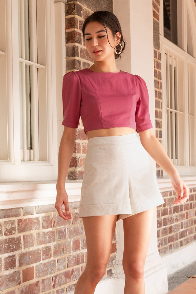 CLAIRE LINEN PUFF SLEEVE TOP ROSE