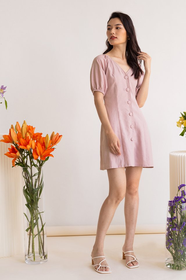 DAPHNE POUF SLEEVE MINI DRESS PEONY