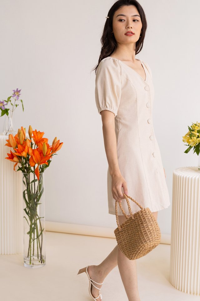DAPHNE POUF SLEEVE MINI DRESS SAND