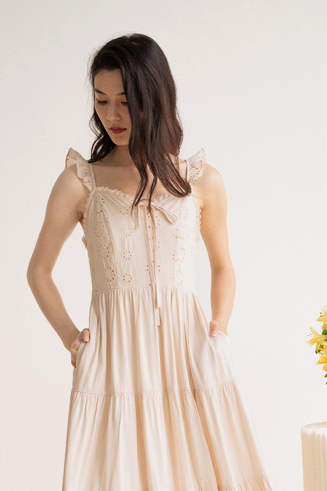 EMMA EYELET DRESS NUDE