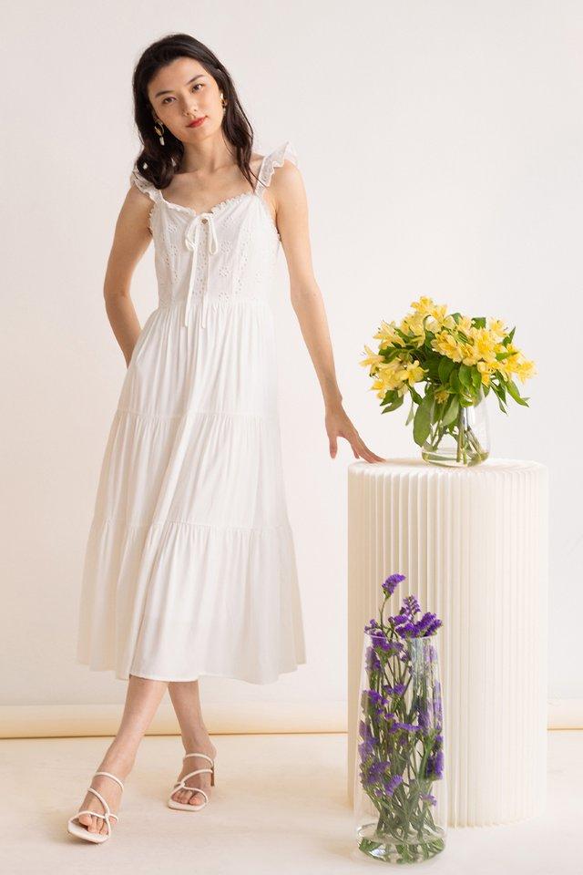 EMMA EYELET DRESS WHITE