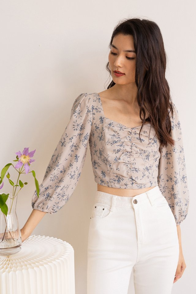 IRIS FLORAL SLEEVED TOP BLUE
