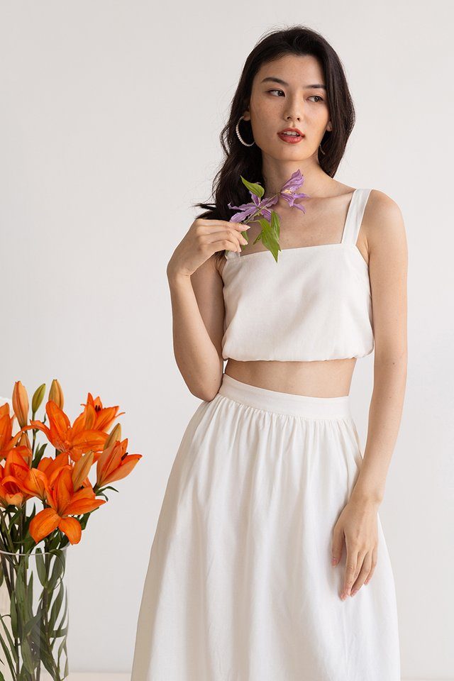 LEIA LINEN TOP WHITE