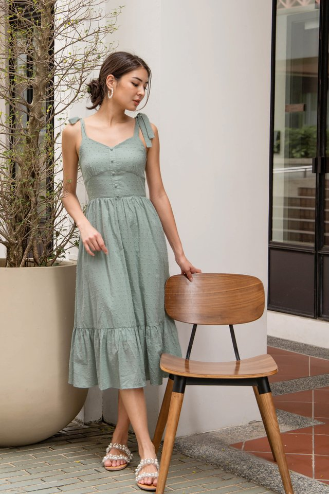 (BACKORDER) GISELLE SWISS DOT DRESS SAGE