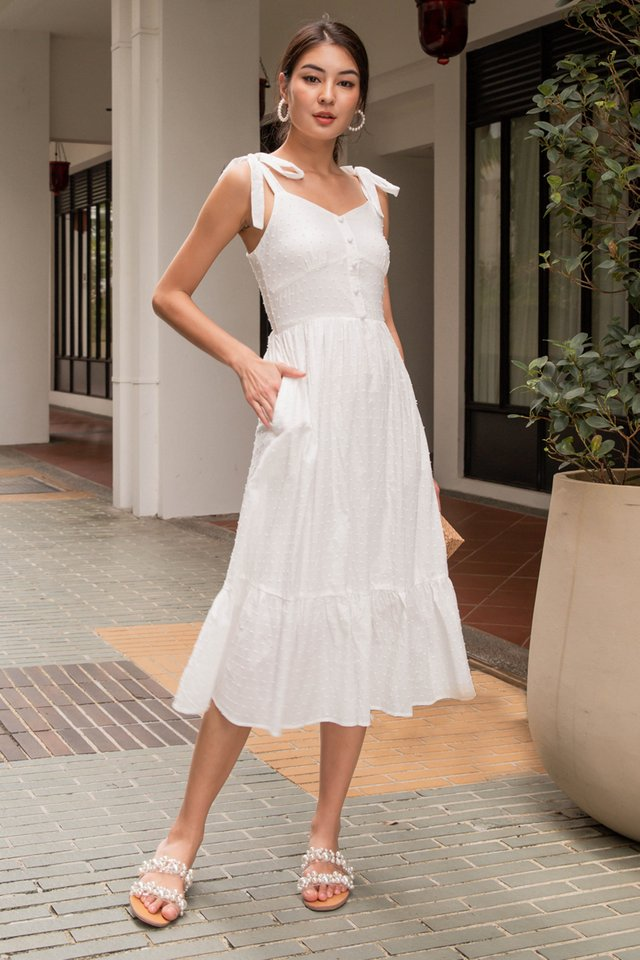 GISELLE SWISS DOT DRESS WHITE
