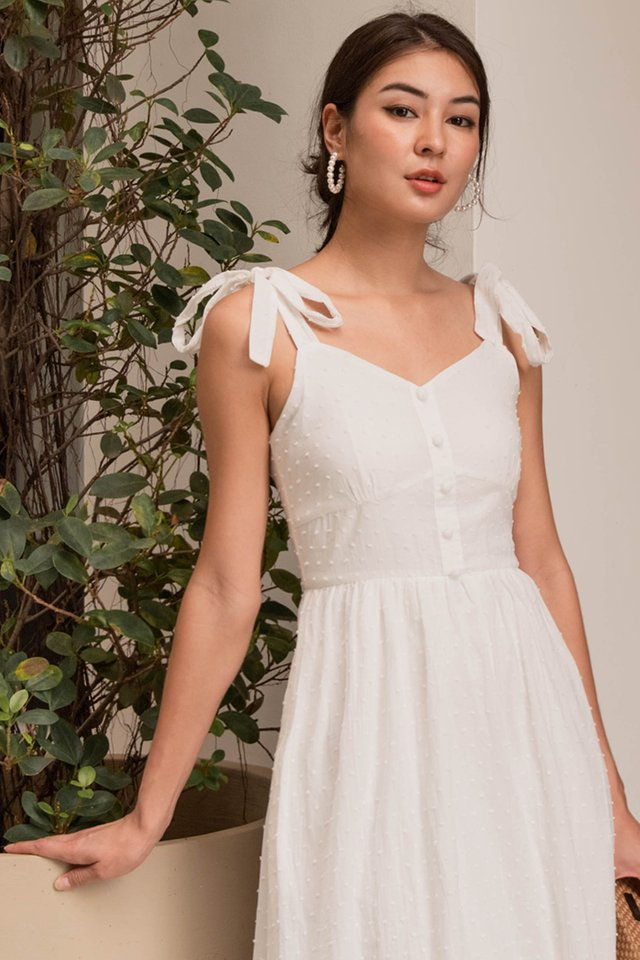 (BACKORDER) GISELLE SWISS DOT DRESS WHITE