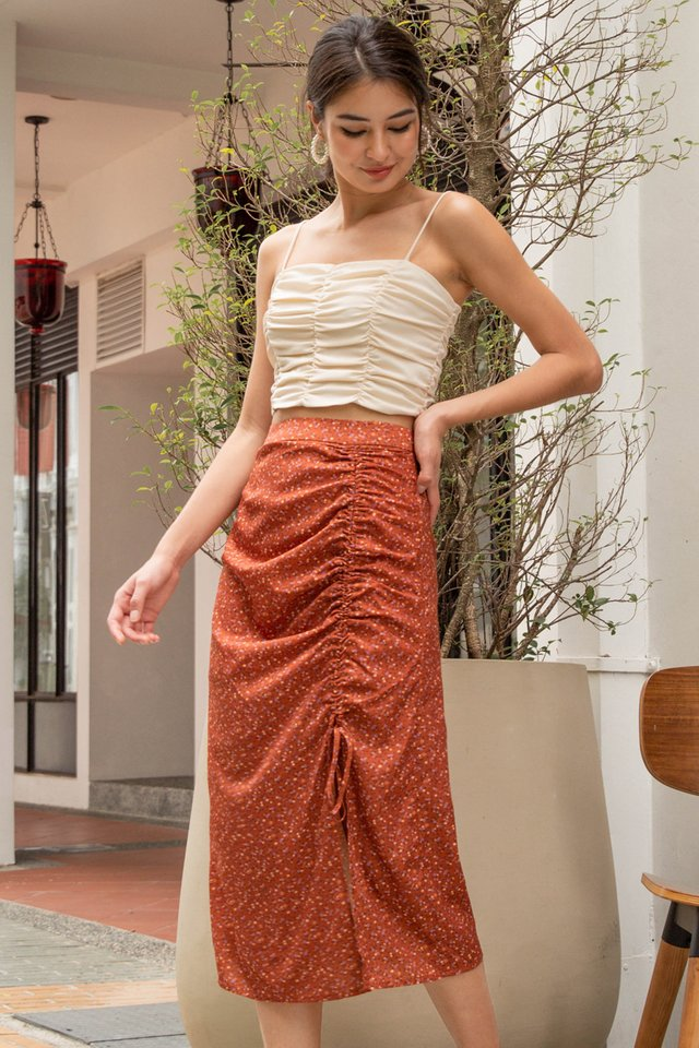 SUMMER DRAWSTRING SKIRT AUBURN