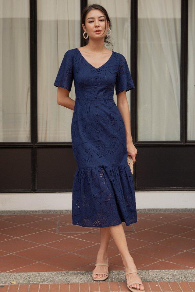 VICTORIA EYELET DRESS NAVY