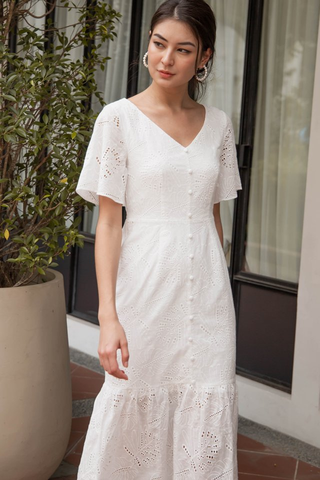 VICTORIA EYELET DRESS WHITE